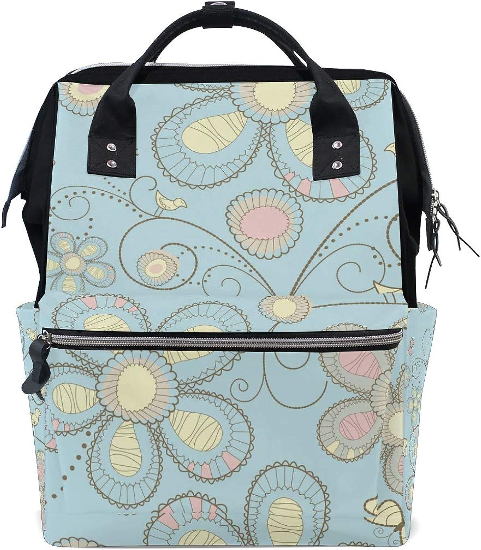 FAJRO Literature and Art Flower PaintingTravel Backpack Canvas Handbag School Pack