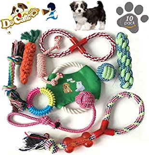 JEBBLAS Puppy Dog Chew Toys Teething Training,10pcs Dog Rope Toys 100% Natural Cotton Rope for Small and Medium Dog…