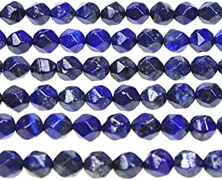 MJDCB Best Sellers Natural Stone Beads Faceted Polygon Lapis Lazuli Crystal Energy Stone Healing Power for Jewelry Making(8mm)