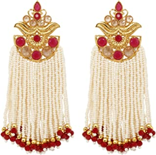 Ratna Indian Bollywood Red Color Designer Gold Tone Pearl Polki Tassel Dangle Drop Earring Wedding & Party Jewelry