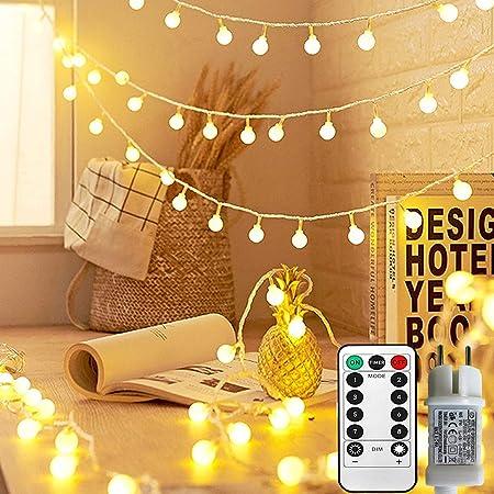 Guirlande Lumineuse Sphérique, Guirlande Lumineuse d'Extérieur avec Prise 100 LED 8 Modes avec télécommande pour Chambre à Coucher, Intérieur, Jardin, Noël et Mariage ( Blanc Chaud )
