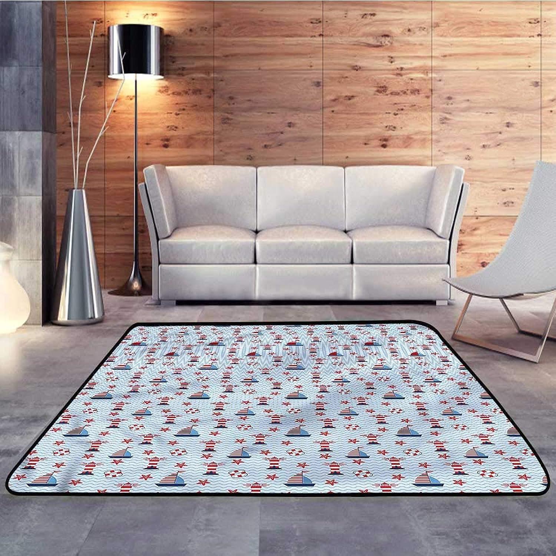 Carpet mat,Lighthouse,Ocean and WavesW 47  x L59 Floor Mat Entrance Doormat