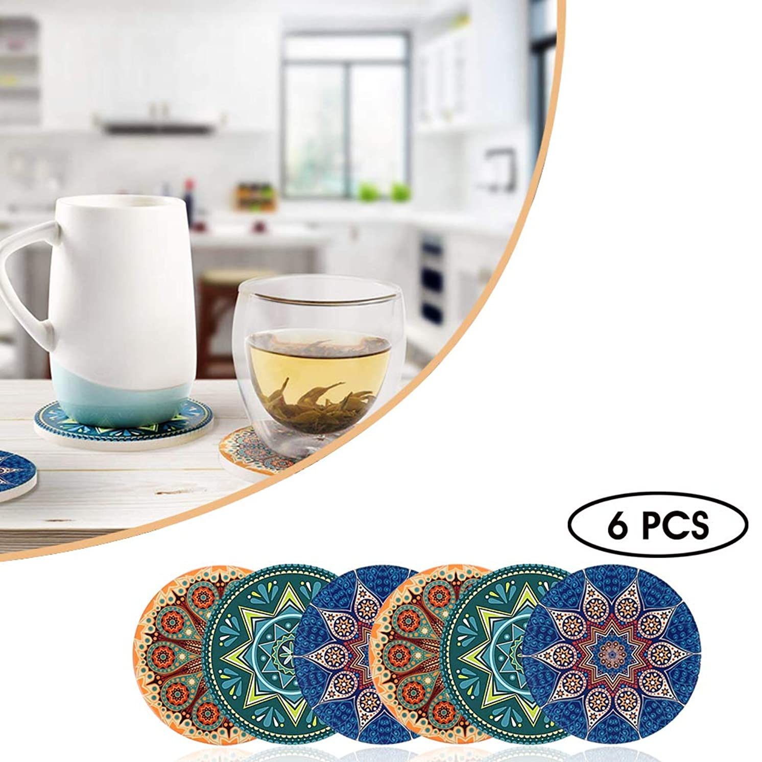 KingLeChange Coasters for Drinks Absorbent Ceremic Stone, Cork Round Base Large Size (4.3 inches) Suitable for Kinds of Mugs and Cups, Set of 6