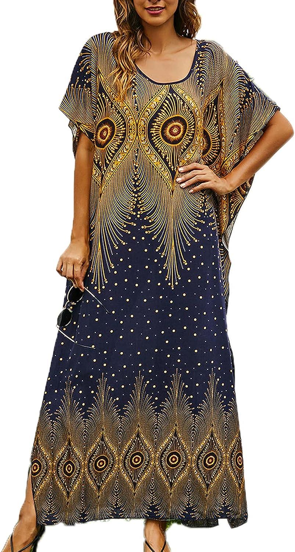 Women's Caftan Cover-Up Printing Robe Long Muslim Summer Dresses Moroccan Thobe