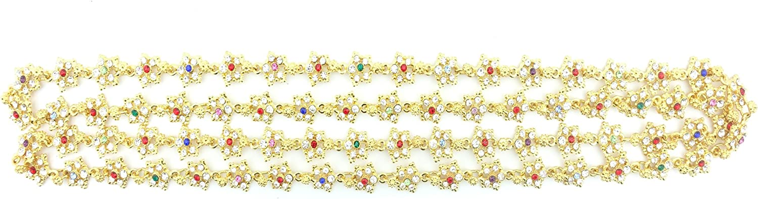 Siwalai Thai Traditional Gold Plated Multicolor Crystals Body Chain (Sangwan) 48 Inches