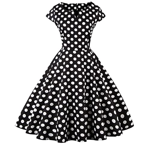 FAIRY COUPLE 1950S Vintage Rockabilly Lunares Cap Mangas Vestido de Baile DRT019