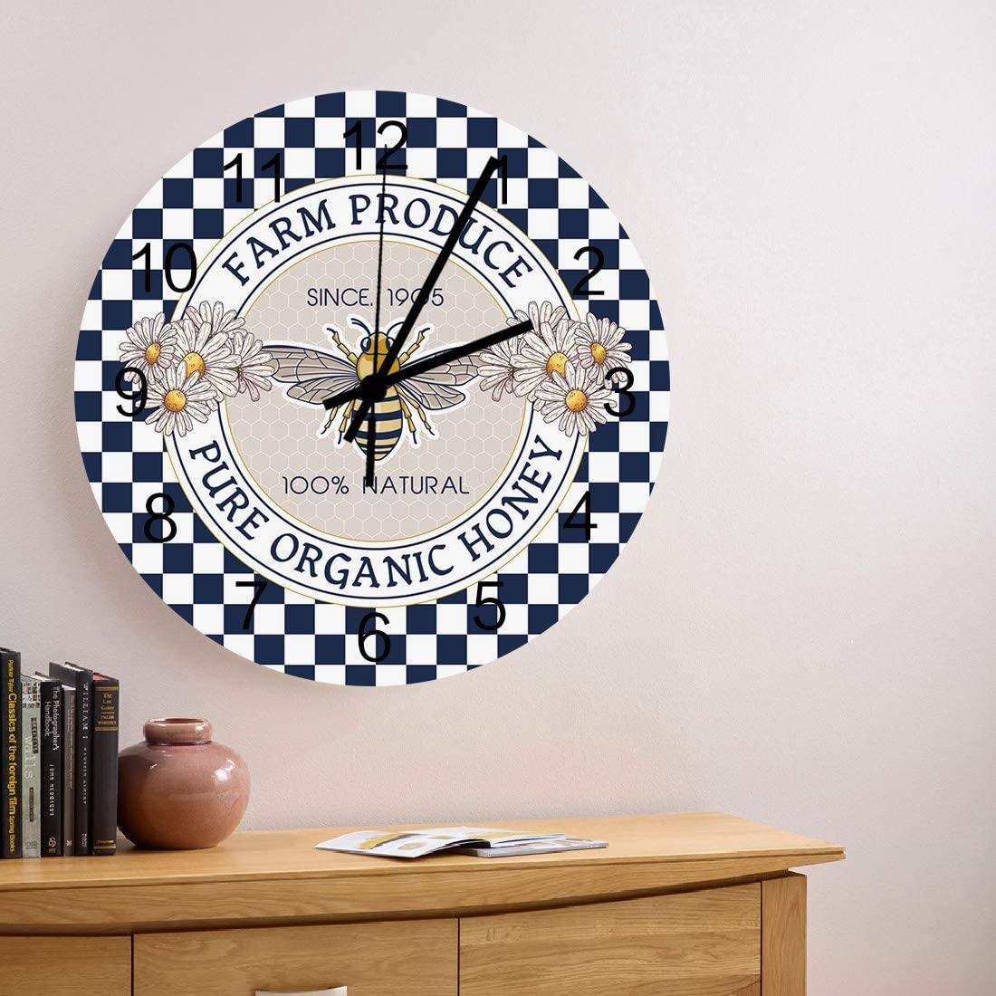 Virginia Beach Mall MuswannaA 5 popular 12 Inch Silent Non-Ticking Clock Wooden Wall Round Whi