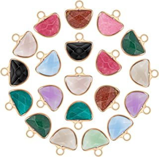 arricraft 20PCS Rock Charms, Half Circle Pendants, Gemstone Pendants with Golden Brass Findings, Mixed Stone Pendants for ...