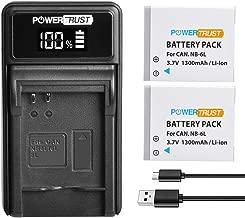 PowerTrust 2Pack NB-6L Battery and Charger for Canon PowerShot SX170 IS  SX240 HS  SX260 HS  SX270 HS  SX280 HS  SX500 IS  SX510 HS  SX600 HS  D10  D20  ELPH 500 HS  S90  S95  S120