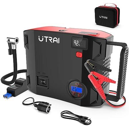 UTRAI ジャンプスターター 24000mAh 一台四役 エアコンプレッサー搭載 ピーク電流2000A エンジンスターターDC/USB出力 安全保護機能 LED緊急ライト モバイルバッテリー QC3.0搭載 急速充電 8Lガソリンエンジン車 6.5Lディーゼル車 日本語取扱説明書 PSE認証済 24ヶ月保証 Jstar 5