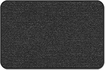 House, Home and More Skid-Resistant Heavy-Duty Door Mat - Charcoal Black - 3' x 3'