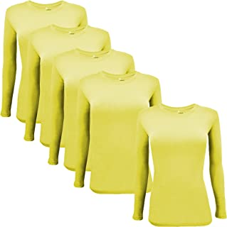 Natural Uniforms Women's Under Scrub Tee Crew Neck Long Sleeve T-Shirt 5-Multi Pack (Medium, 5 Pack- Yellow)