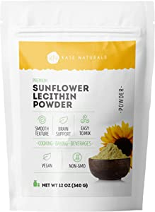 Premium Sunflower Lecithin Powder (12oz) by Kate Naturals. 100% Natural & Gluten-Free. A Vegan, Non-GMO Alternative to Soy Lecithin Powder
