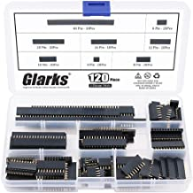 Glarks 120Pcs 2.54mm Straight Single Row PCB Board Female Pin Header Socket Connector Strip Assortment Kit for Arduino Prototype Shield(Single Row)