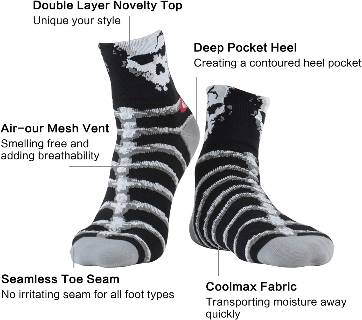 LIN Men's CoolMax Cycling Socks -Performance Moisture Wicking Ankle Socks for Mountain Bike, Road Bicycle ,3 Pack