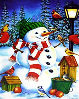 Paint by Digital Kit for Kids and Adults with Frame, Diy Oil Painting,Merry Christmas Snowman, Gift 16''X20'' Inch