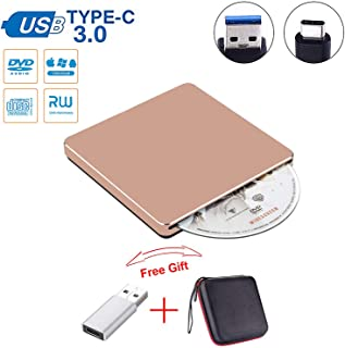 Guamar External CD DVD Drive USB C Slot in Drive USB 3.0 External CD Drive CD Player +/-RW Burner Writer Compatible with MacBook Pro Air/Laptop/Windows10 with Free USB 3.0 Adapter (Rose Gold)