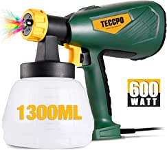 Electric Paint Sprayer 500 Watts Up to 100 DIN-s, TECCPO Spray Gun with 800ml/min HVLP, 1300ml Detachable Container, 3 Cop...