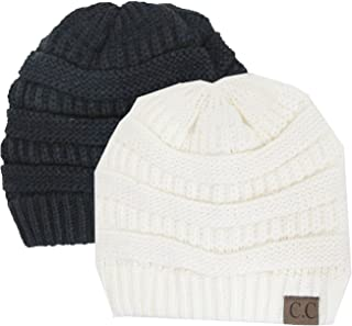 Charcoal Grey Thick Slouchy Knit Oversized Beanie Cap Hat,One Size,2 Pack: Bl
