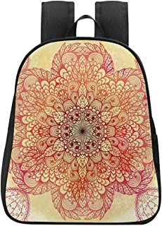 Red Mandala Fresh Backpack,Magical Spiritual Hand Drawn Bloom with Swirled Petals Oriental Retro Decorative for Daily Leisure,One_Size