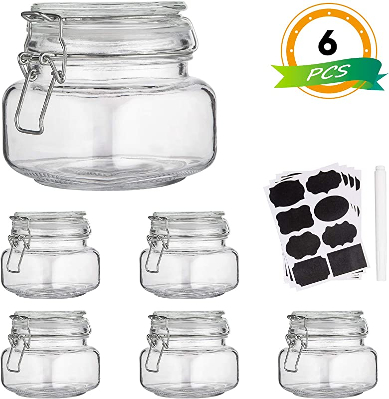 Glass Kitchen Storage Canister Mason Jars With Lids 16oz Airtight Glass Canister With Hinged Lid Perfect For Kitchen Canning Cereal Pasta Sugar Beans Labels Chalk Marker Set Of 6
