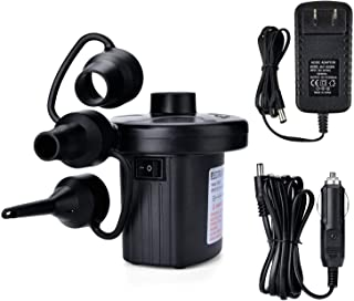 Electric Air Pump Portable Quick-Fill Air Pump with 3 Nozzles Inflator/Deflator Pumps for Outdoor Camping, Inflatable Cushions, Air Mattress Beds Boats, Swimming Ring,110V AC/12V DC