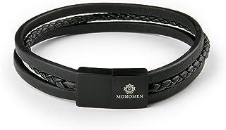 Monomen Men MM10793 Stainless Steel Bracelet, Without Stones -Black