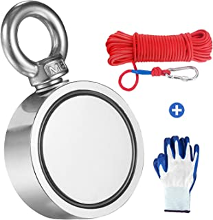 MEIXI 300KG Haftkraft Doppelseitig Neodym Ösenmagnet mit Seil 20M/66ft und einem Paar Handschuhen, Super Stark Magnete Perfekt zum Magnetfischen Magnet Angel Durchmesser60mm mit Öse Neodymium Topfmagnet