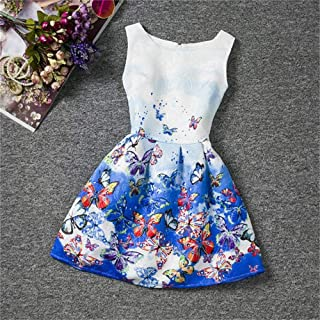 Girls Sleeveless Dress Children Clothing Print Butterflies Flower Teenager Summer Wear Princess Pageant Wedding Bridesmaid Birthday Party Flower Girl Dress