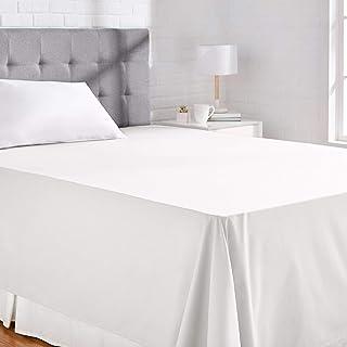 AmazonBasics Everyday - Sábana encimera (100% algodón) 230 x 260 cm - Blanco