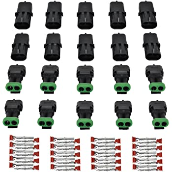 MUYI 10 Kit 2 Pin Way Waterproof Electrical Connector 2.5mm Series Terminals Quick Locking Wire Harness Sockets