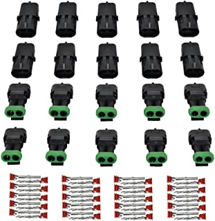 MUYI 10 Kit 2 Pin Way Waterproof Electrical Connector 1.5mm Series Terminals Heat Shrink Quick Locking Wire Harness Sockets