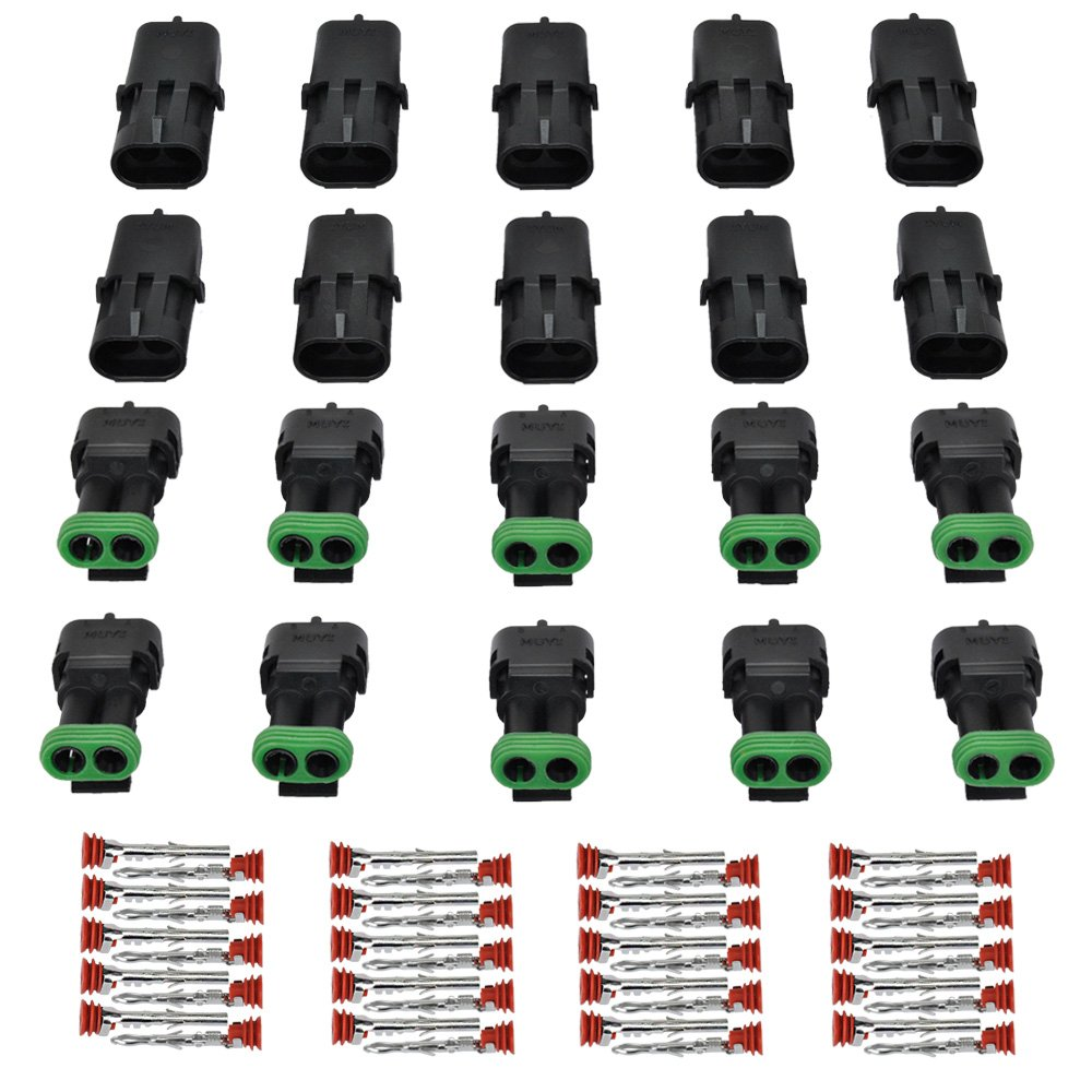 gm electrical connectors amazon com Car Wiring Harness muyi 10 kit 2 pin way waterproof electrical connector 1 5mm series terminals heat shrink quick