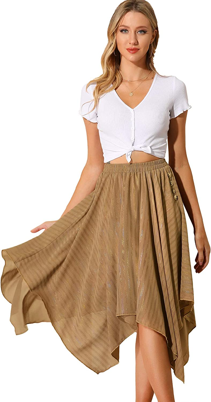 Allegra K Women's Elastic Waist Stripe Chiffon Handkerchief Hem Midi Skirt