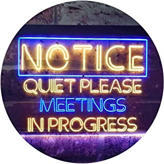 Meeting in Progress Quiet Please Room Dual Color LED Neon Sign Blue & Yellow 400 x 300mm st6s43-i3511-by