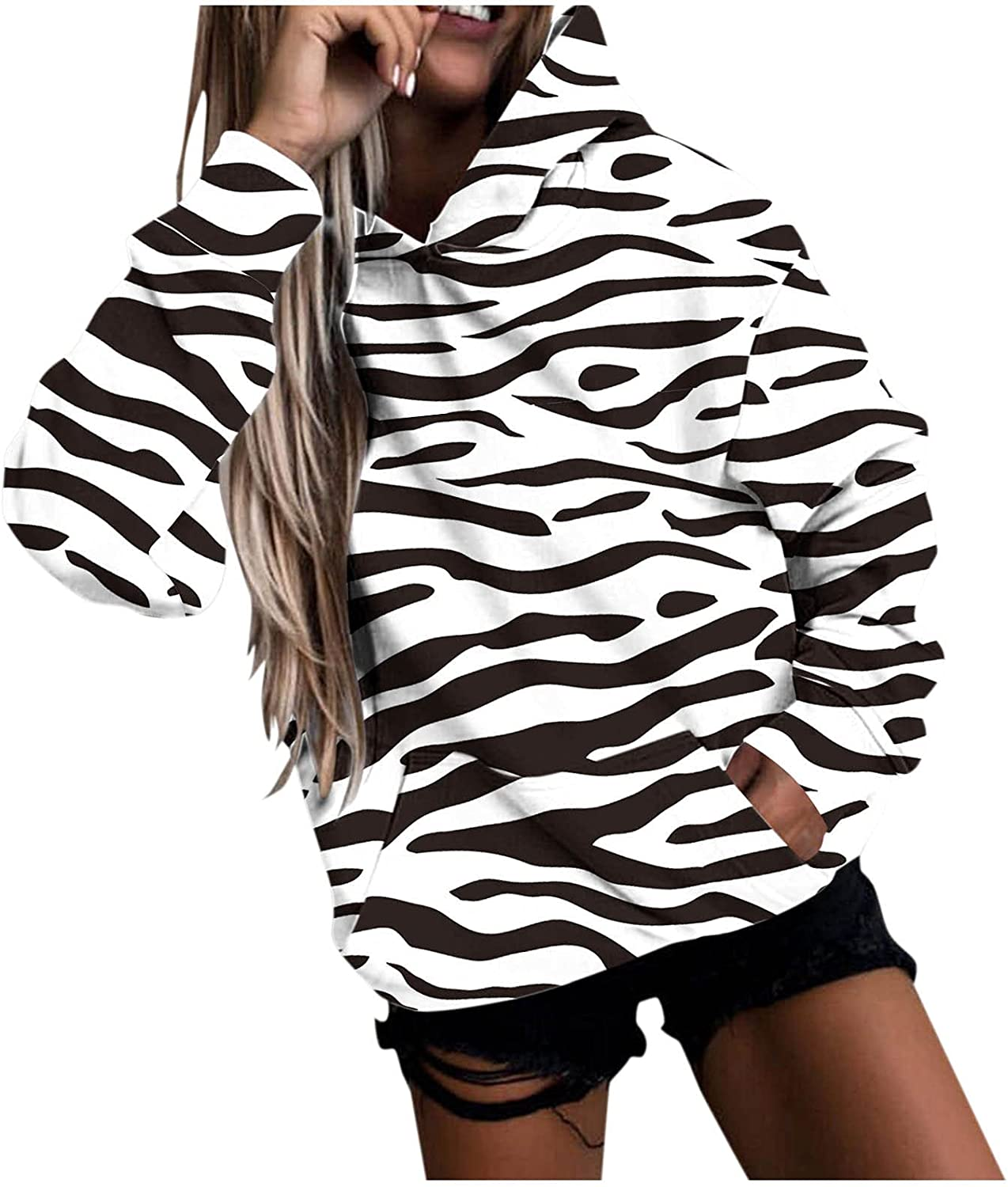 Hoodie for Women Pullover Fashion Leopard Colorful Pinted Long Sleeve Hooded Sweatshirt Blouse Tops