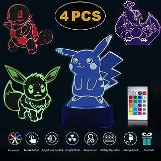 Terrosol 3D Night Light Shape of Pokemon Illusion Night Nursery Light for Kids,4 Pattern&1 Base&1 Remote - Pokemon Gifts - 3D Led Lamp - Acrylic Lamp - 3D Pokemon Pikachu - Optical Illusion Led Light