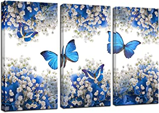 Biuteawal - 3 Panel Canvas Print Blue Butterfly Wall Art Flower Painting on Canvas Contemporary Artwork for Home Living Room Bedroom Wall Decor Ready to Hang