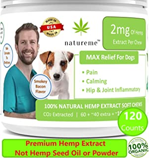 natureme Premium Hemp Treats for Dogs   Calming   Pain   Hip & Joint   All Natural Organic Soft Chews Infused w. Hemp Extract (Not Hemp Seed Oil or Powder, THC Free)