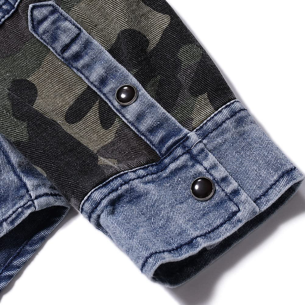 CHARTOU Men's Slim Fit Spread Collar Button Down Camouflage Patchwork Wash Denim Shirt