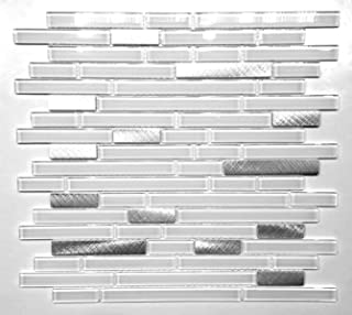 Pure White Glass and Brushed Aluminum Matchstick Mosaic Wall Tile