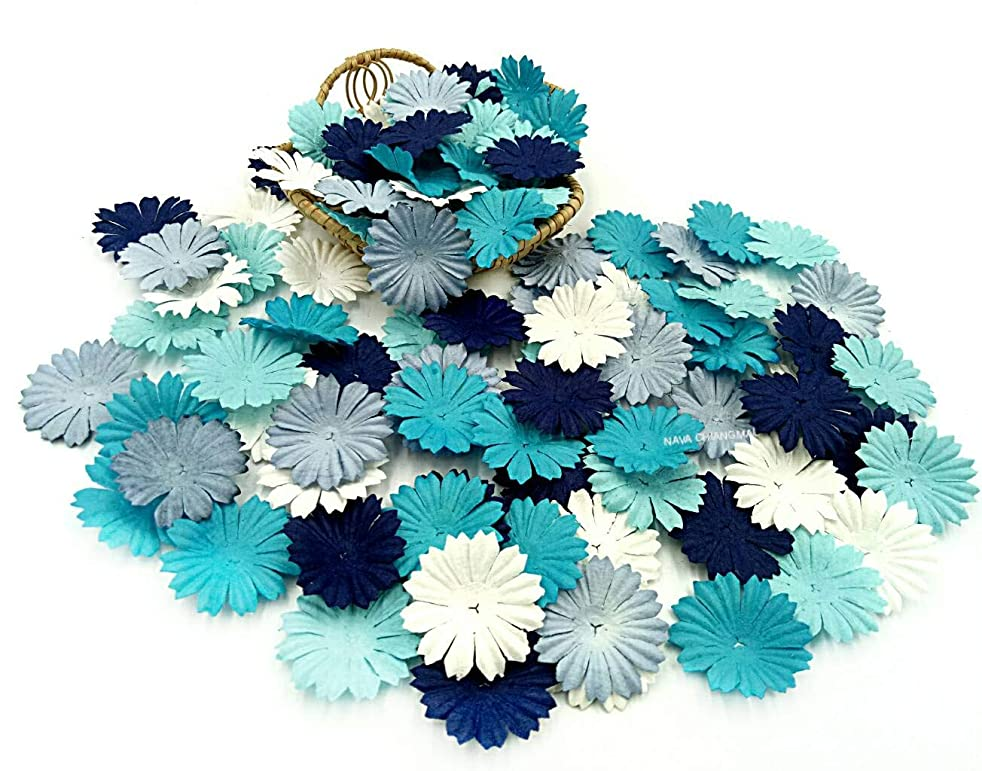 NAVA CHIANGMAI 100 Blue Color Tone Mulberry Daisy Flowers Scrapbooking Embellishment Making Doll House Supplies Card