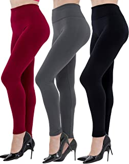 Diravo 6 Pack Women's Fleece Lined Leggings Soft High Waist Slimming Winter Warm Leggings