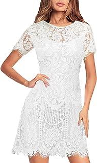 MSLG Women's Elegant Round Neck Short Sleeves V-Back Floral Lace Cocktail Party A Line Dress 910