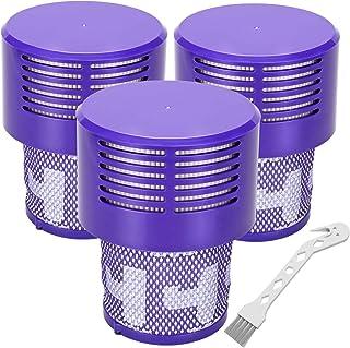 فیلترهای جایگزین V10 برای Dyson V10 Cyclone Series، V10 Absolute، V10 Animal، V10 Total Clean، SV12 ، تعویض قطعه شماره 969082-01 ، فیلترهای 3 بسته ای و 1 برس تمیز