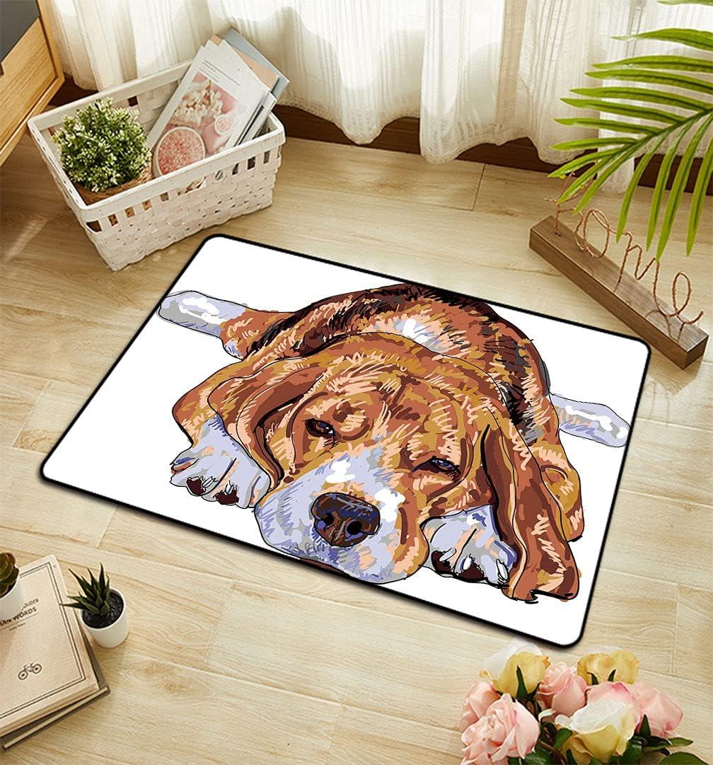 Beagle Under blast sales Rectangular Doormat Old Dog Puppy Resting Same day shipping Sleeping Tired
