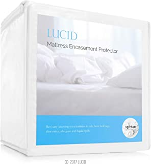LUCID Encasement Mattress Protector - Completely Surrounds Mattress for Waterproof, Allergen Proof, Bed Bug Proof Protection -15 Year Warranty - Full Size