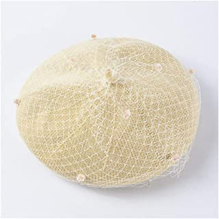 ZiWen Lu Hat Female Fashion Hipster Korean Version of The Wild Retro mesh Beret Spring and Summer Thin 蓓 帽 hat Solid Color Painter hat (Color : Beige)