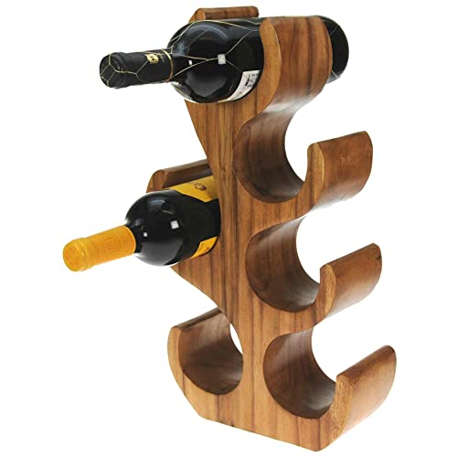 Namesakes Handcrafted Solid Wooden Wine Rack Tree Sculpture : Novelty 6 Bottle Holder : Free Standing Ornament & Unique Talking Point For Home or Kitchen : Hand Carved from Wood : A Lovely