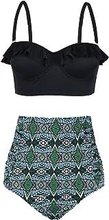 Nonwe Women's Two Piece Bikini Retro Flounce Halter High Waisted Swim Bottom
